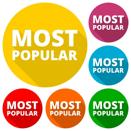 most: Most Popular icons set with long shadow