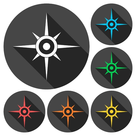 windrose: Compass, windrose icons set with long shadow Illustration