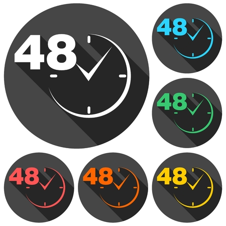 shop opening hours: 48 hours circular icons set with long shadow Illustration