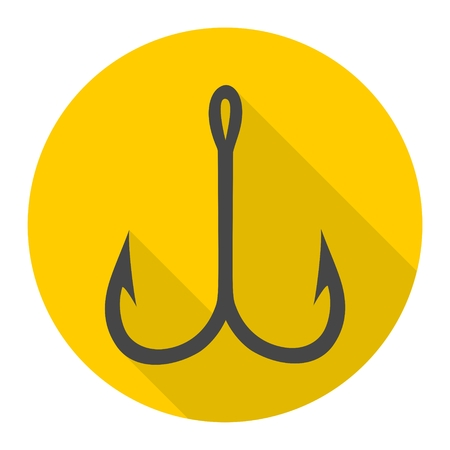 fishinghook: Fishing Hook, Barbed fish hook vector icon Illustration