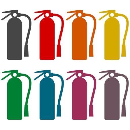 suppression: Fire extinguisher icons set