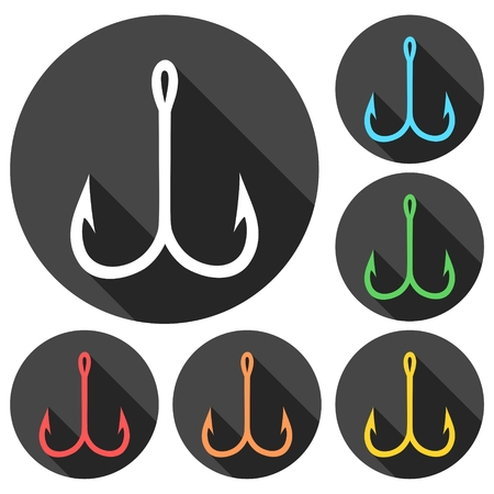 Fishing Hook, Barbed fish hook vector icons set with long shadow