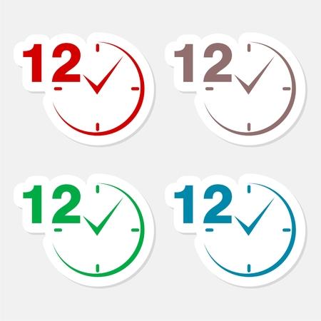 12 hours circular icons set Illustration