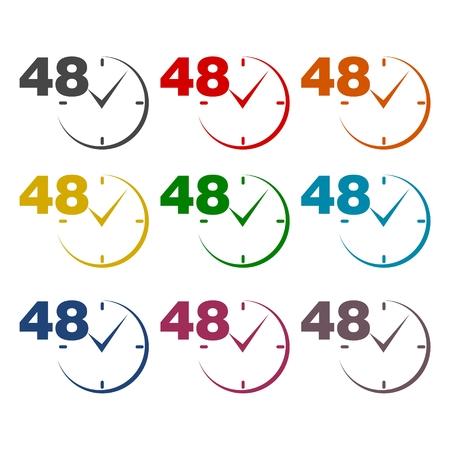 48: 48 hours circular icons set Illustration