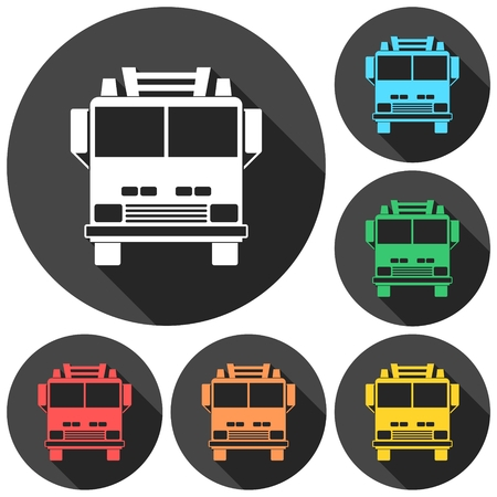camion: Fire truck, Fire station icons set with long shadow