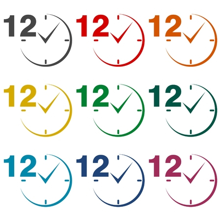 12: 12 hours circular icons set Illustration
