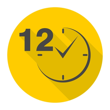 a 12: 12 hours circular icons set with long shadow