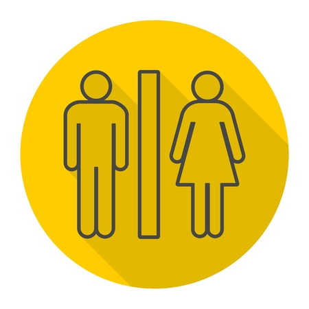 Toilets icon with long shadow Illustration