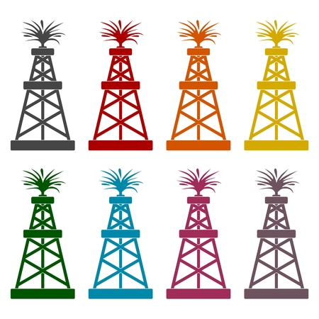 Oil rig icons set