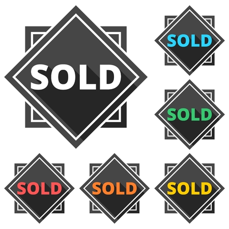 sold: Sold icons set with long shadow Illustration