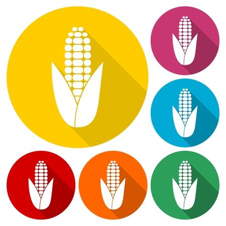 sweetcorn: Corn symbol icons set with long shadow Illustration