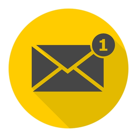 Simple image unread mail icon with long shadow