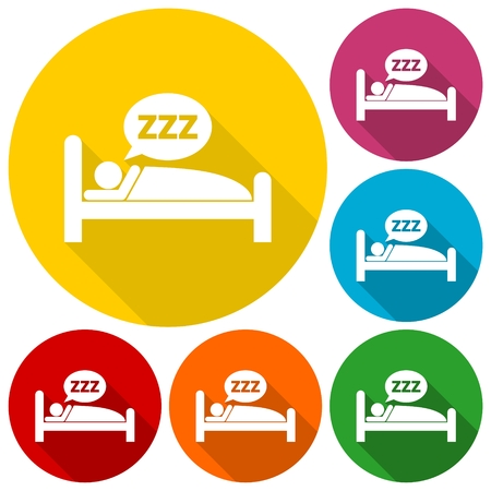 public health services: Sleeping symbol set with long shadow
