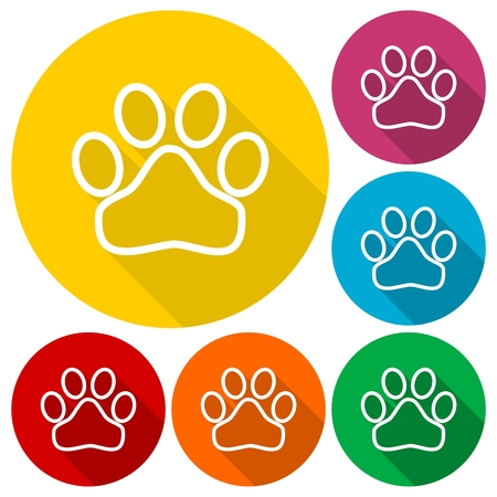 imprints: Paw Sign - illustration icons set with long shadow