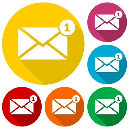 unread: Simple image unread mail icons set with long shadow Illustration