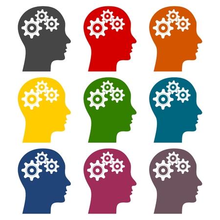 Human head with gears icons set Çizim