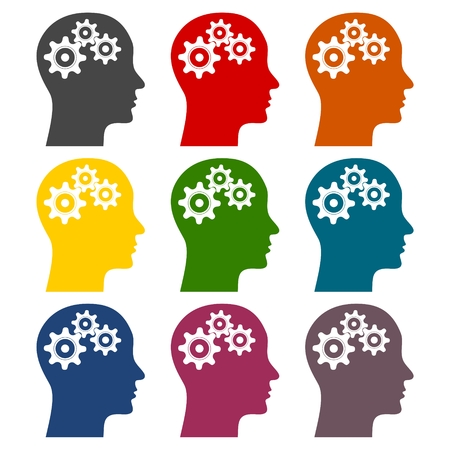 Human head with gears icons set Illustration