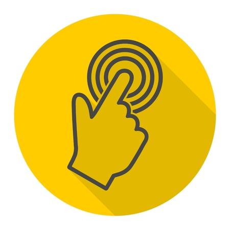 hand cursor: Computer hand cursor icon with long shadow