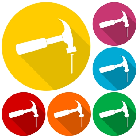 Hammer and nail icons set with long shadow