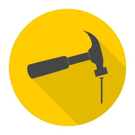 Hammer and nail icon with long shadow