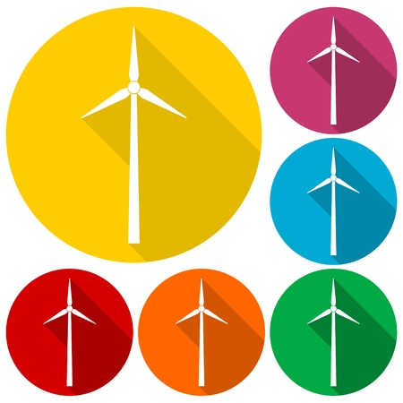 Windmill icons set with long shadow Illustration