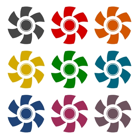 Exhaust fan vector icons set