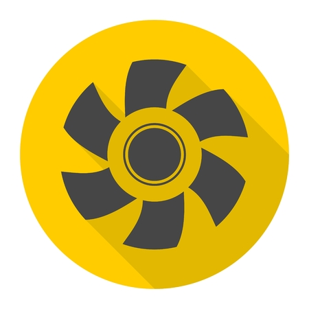 Exhaust fan icon with long shadow Illustration