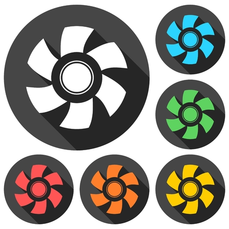 exhaust fan: Exhaust fan icons set with long shadow