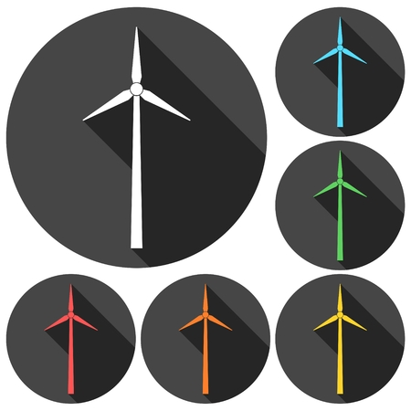 milling: Windmill icons set with long shadow Illustration