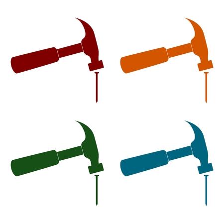 Hammer and nail icons set Vectores