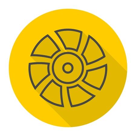 orificio nasal: De escape icono del ventilador del vector con una larga sombra Vectores
