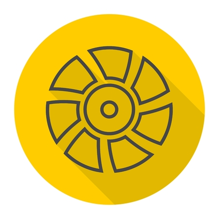 exhaust fan: Exhaust fan vector icon with long shadow