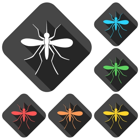 outbreak: Mosquito icons set with long shadow Illustration