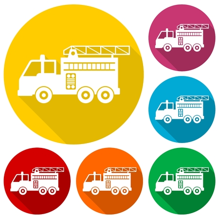 firetruck: Fire truck, Fire station icons set with long shadow
