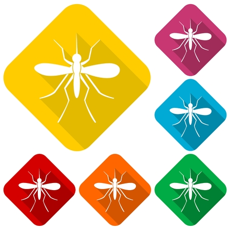 epidemiology: Mosquito icons set with long shadow Illustration