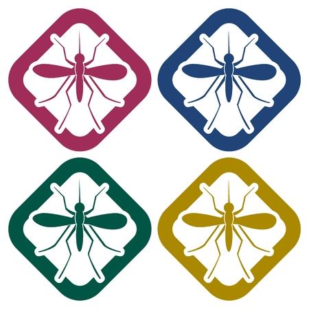 albopictus: Mosquito icons set Illustration