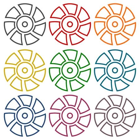 exhaust: Exhaust fan vector icons set