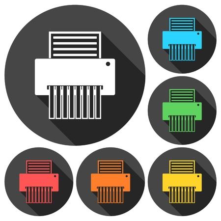 paper shredder: Paper Shredder Icons set with long shadow