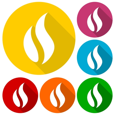 gas flame: Gas Flame Icons set with long shadow Illustration