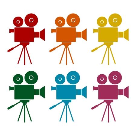 Video camera, Film Camera Icons set Illustration