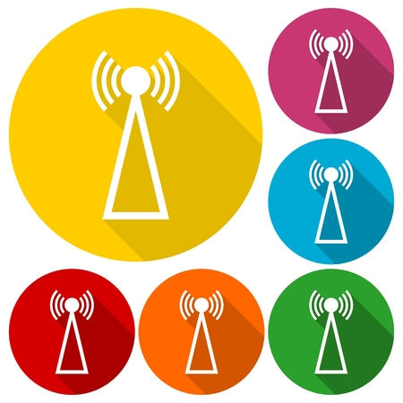 Transmitter simple icons set with long shadow