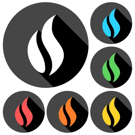 Gas Flame Icons set with long shadow Illustration