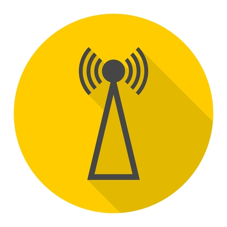 wireles: Transmitter simple icon with long shadow