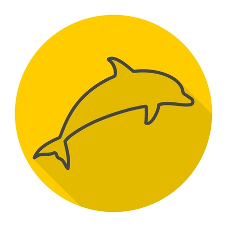 dolphin silhouettes icon with long shadow royalty free cliparts