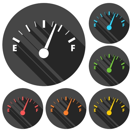 gas tank: Gas tank illustration icons set with long shadow