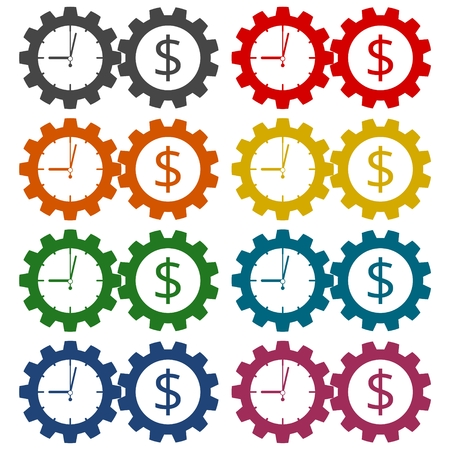 annuity: Time is money, Business gears concept icons set