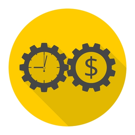 Time is money, Business gears concept icon with long shadow
