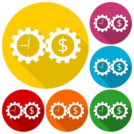 El tiempo es dinero, negocios Engranajes iconos del concepto fijaron con una larga sombra