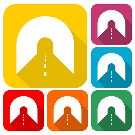 highway tunnels: Road with tunnel icons set with long shadow