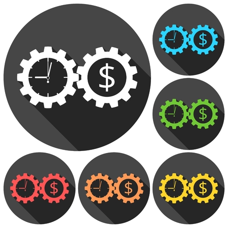 annuity: Time is money, Business gears concept icons set with long shadow